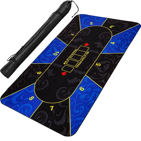 Pokerauflage 160x80cm, blau/schwarz