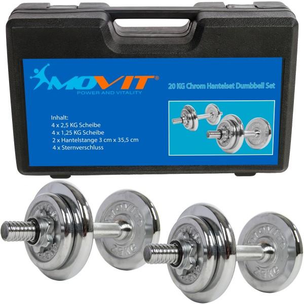 MOVIT® Kurzhantel Set, Hantelset Gusseisen Chrom 20 kg