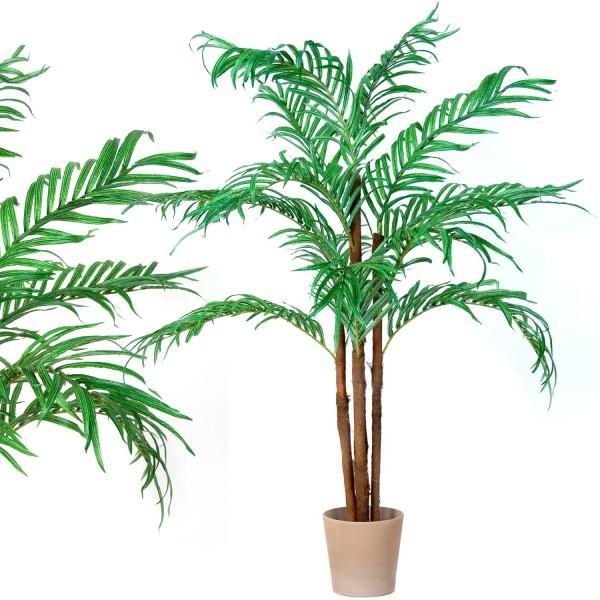 Kokospalme, Echtholzstamm, Kunstpalme, Kunstpflanze 160cm