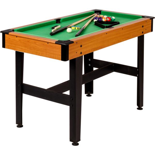 4ft Billardtisch, helles Holzdekor, grünes Tuch