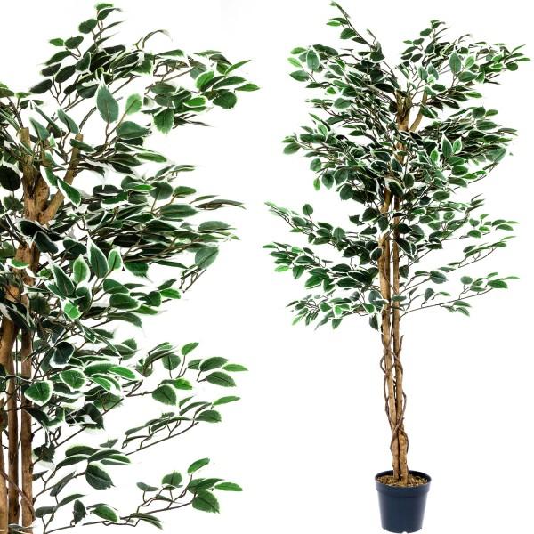 Großer grüner Ficus Baum, Echtholzstamm, Kunstbaum 160cm