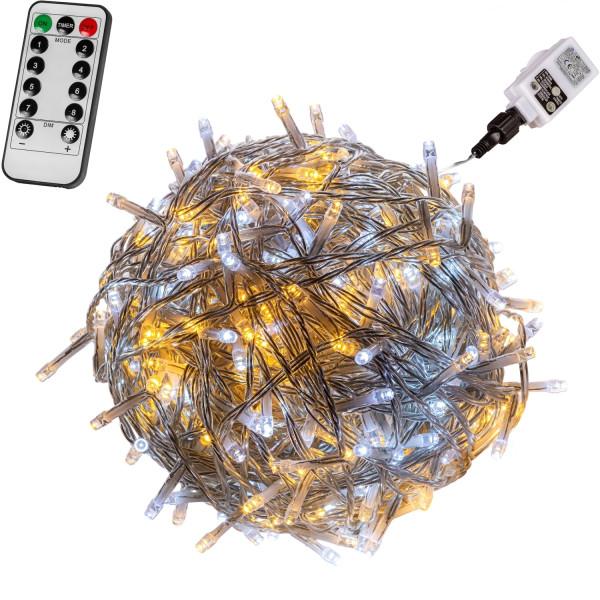 VOLTRONIC® 50 LED Lichterkette, warm/kalt, Kabel transp, FB
