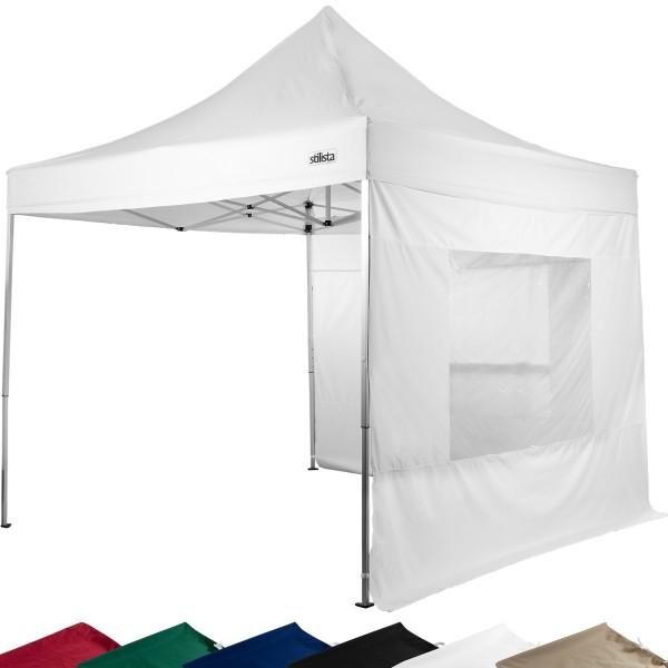 STILISTA® Faltpavillon mit 2 Seitenteilen weiss, 3 x 3 m