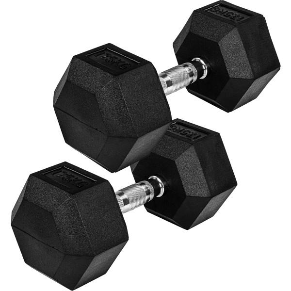 MOVIT® Hexagon Rubber Hantel 17,5kg 2er Set