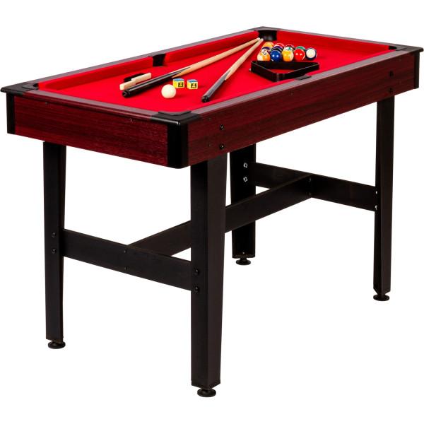 4ft Billardtisch, dunkles Holzdekor, rotes Tuch