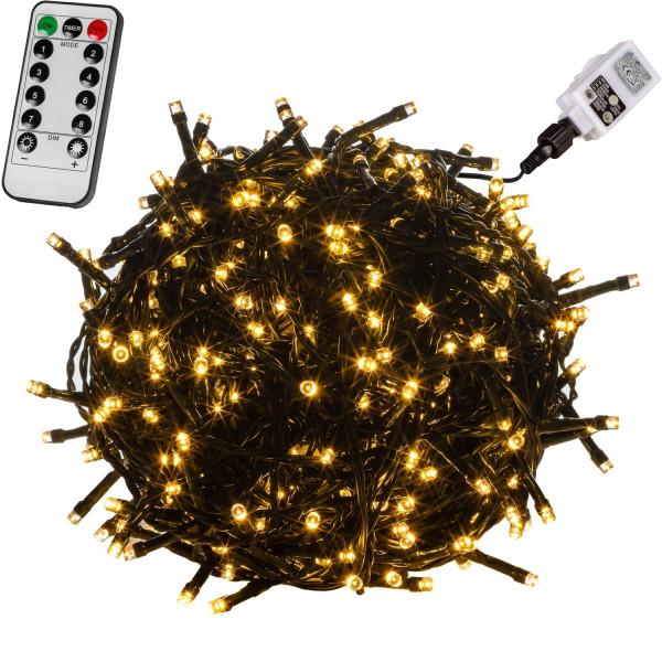 VOLTRONIC® 100 LED Lichterkette, warm-weiss, Kabel grün, FB