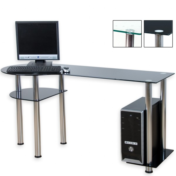 STILISTA® PC Büro Computertisch, Schwarzglas-Optik