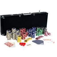 Pokerkoffer, Pokerset, mit 500 Laserchips, BLACK EDITION