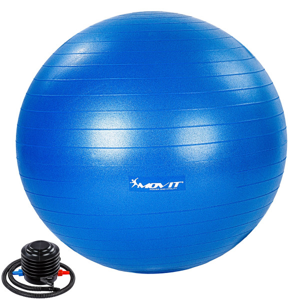 MOVIT® Gymnastikball mit Fußpumpe, 65 cm, blau
