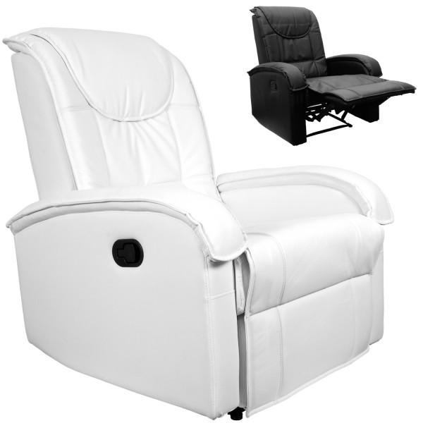 Fernsehsessel, Relaxsessel mit Fußstütze, Weiß