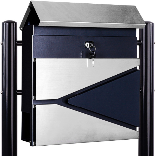 Standbriefkasten Stahl MIX mit Anthrazit Beinen 37x36x10,5cm