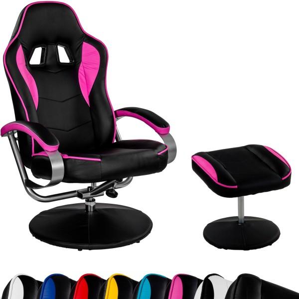 Racing TV Sessel Relax Racer GT mit Fußhocker Schwarz/Pink