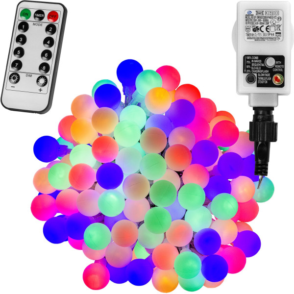 VOLTRONIC® 50 LED Lichterkette Party, bunt, Adapter, FB