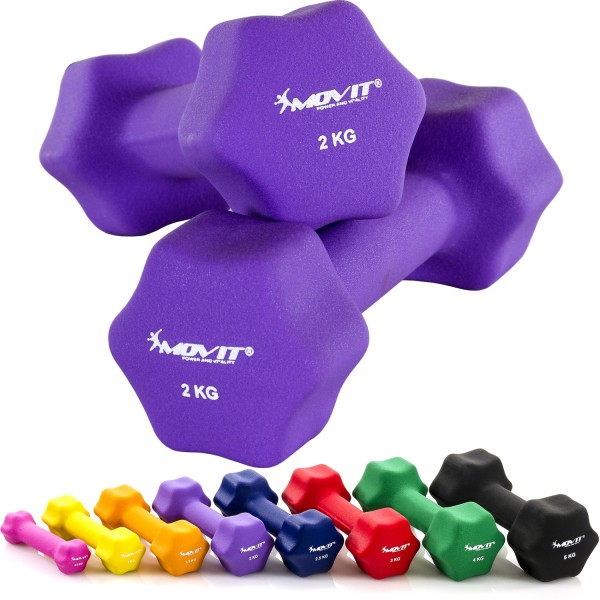 MOVIT® 2er Set 2,0 kg Profi Neopren Hanteln, Lila