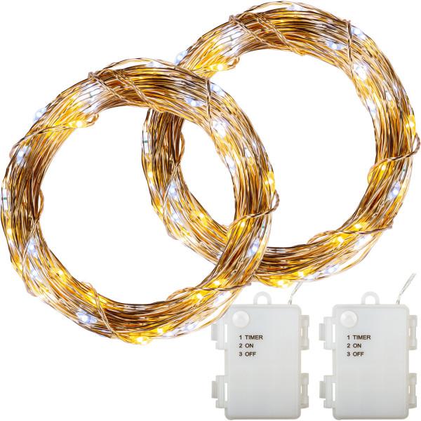 VOLTRONIC® 2Set 200 LED Lichterkette Draht, warm/kalt, Batt