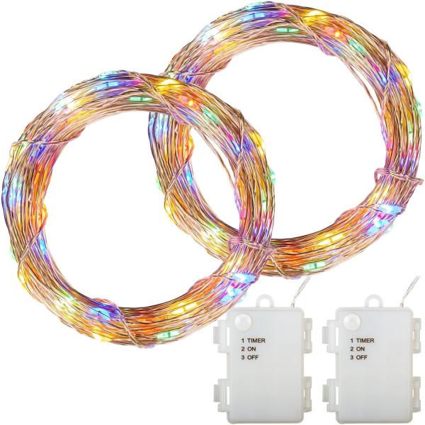 VOLTRONIC® 2Set 100 LED Lichterkette Draht, bunt,Batt