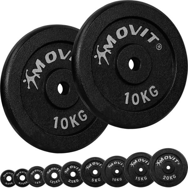 MOVIT® 2x Hantelscheiben 10,0 kg Gusseisen