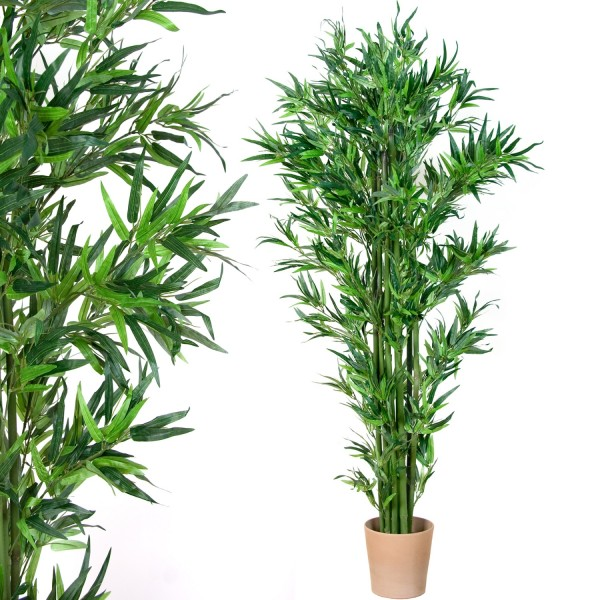 Bambus-Strauch, Echtholzstamm, Kunstbaum, Kunstpflanze 190cm