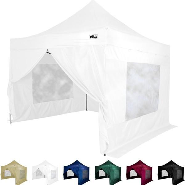 STILISTA® Faltpavillon mit 4 ST, weiß, 3 x 3 m