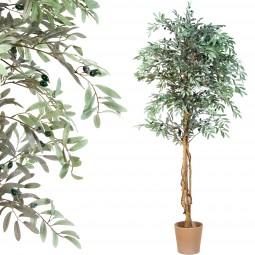 Oliven Baum, Echtholzstamm, Kunstbaum, Kunstpflanze 180cm