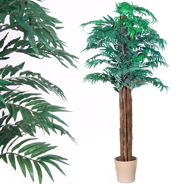 Kunstpflanze, Kunstbaum, Arecapalme, Echtholzstamm 180cm