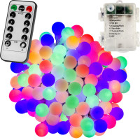VOLTRONIC® 50 LED Lichterkette Party, bunt, Batt, FB