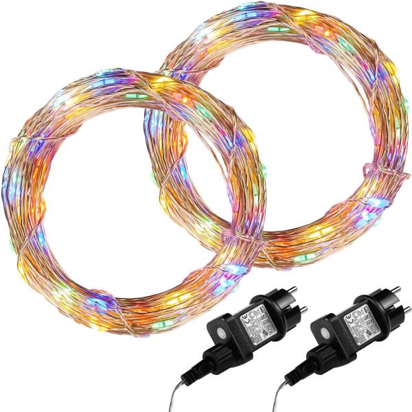 VOLTRONIC® 2Set 200 LED Lichterkette Draht, bunt,Adapter