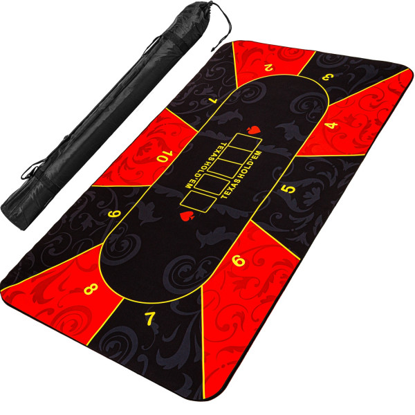 Pokerauflage 200x90cm, rot/schwarz