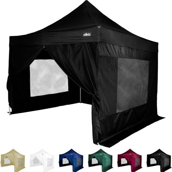 STILISTA® Faltpavillon mit 4 ST, schwarz, 3 x 3 m