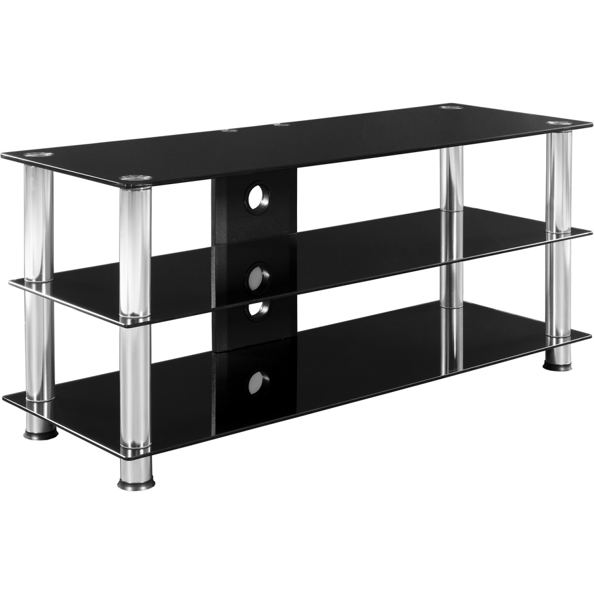 stilista tv rack tv fernsehtisch schwarzglas optik wohnaccessoires haus. Black Bedroom Furniture Sets. Home Design Ideas