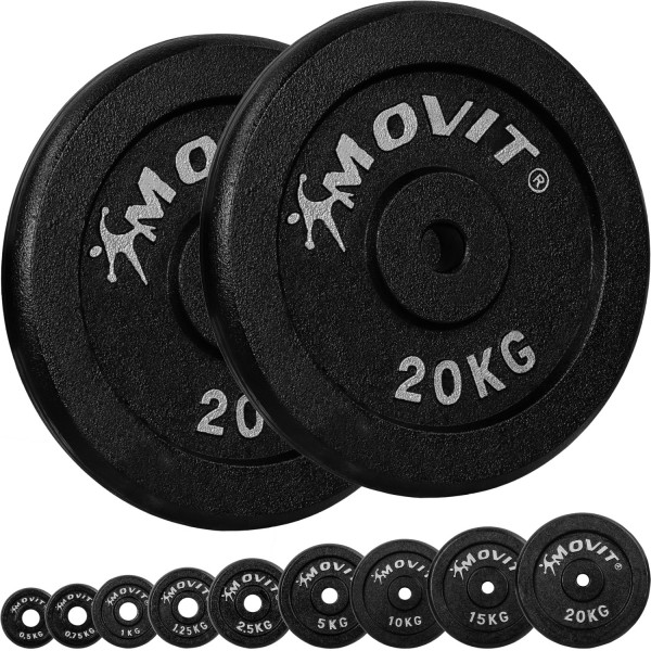 MOVIT® 2x Hantelscheiben 20,0 kg Gusseisen