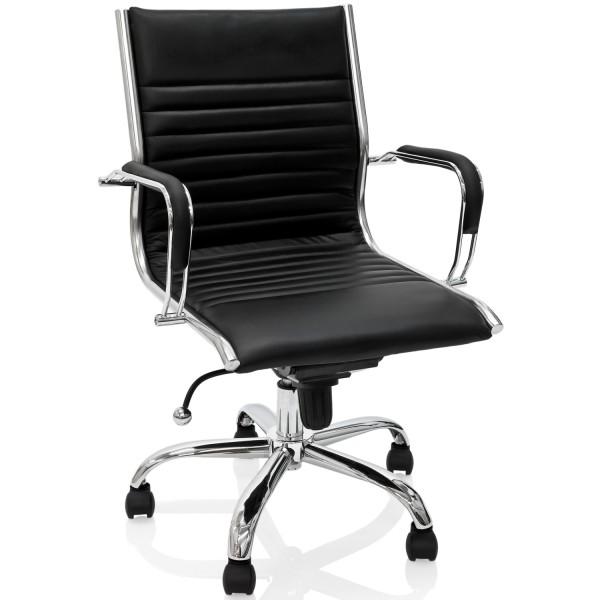 Leder Bürostuhl, Schreibtischstuhl, Schwarz