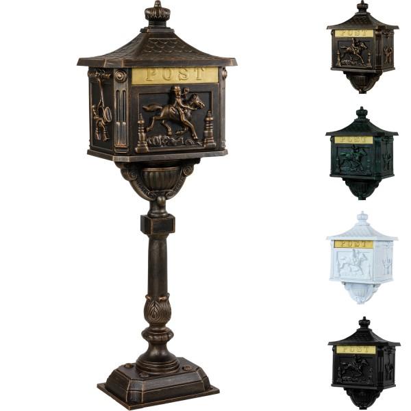 Antiker Standbriefkasten, Briefkasten Alu bronze