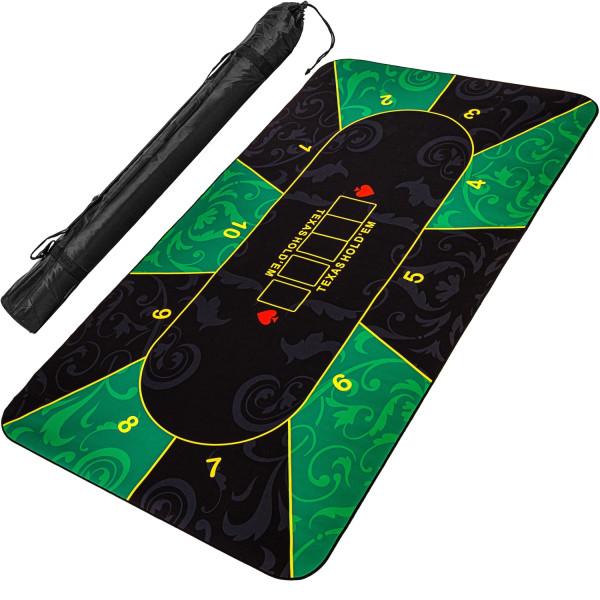 Pokerauflage 160x80cm, grün/schwarz