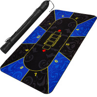 Pokerauflage 200x90cm, blau/schwarz