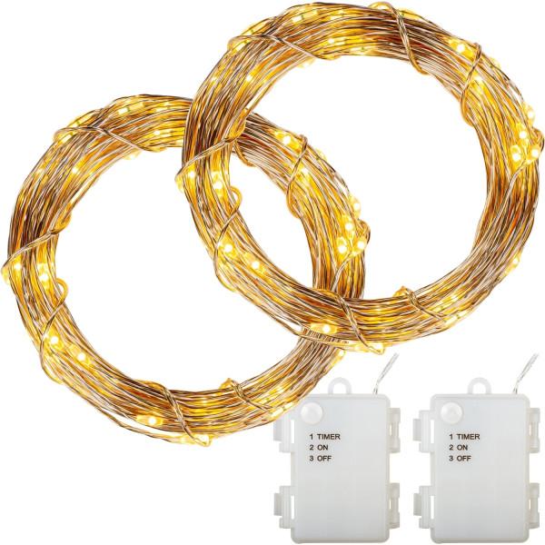 VOLTRONIC® 2Set 50 LED Lichterkette Draht, warmweiß, Batt