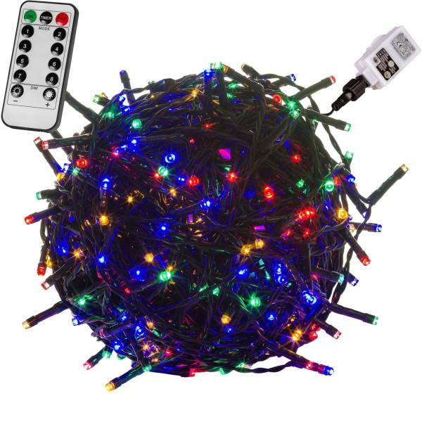 VOLTRONIC® 100 LED Lichterkette, bunt, Kabel grün, FB