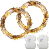 VOLTRONIC® 2Set 50 LED Lichterkette Draht, warm/kalt,Batt