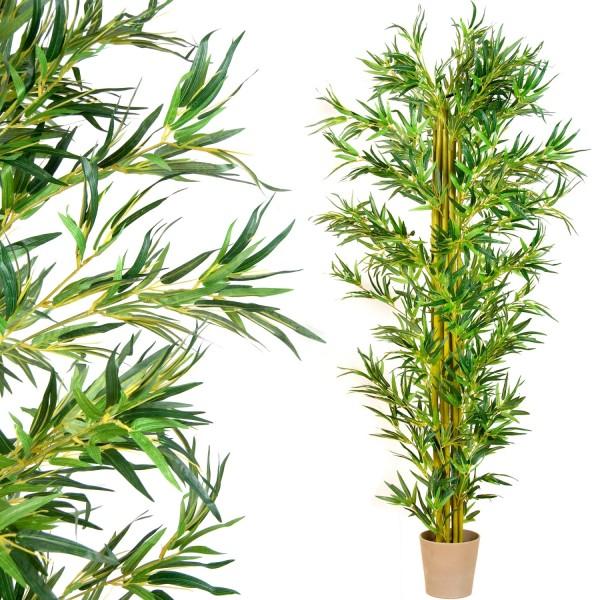 Bambus-Strauch, Echtholzstamm, Kunstbaum, Kunstpflanze 220cm
