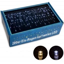 VOLTRONIC® 200 LED Lichterkette Eisregen, kalt-weiß