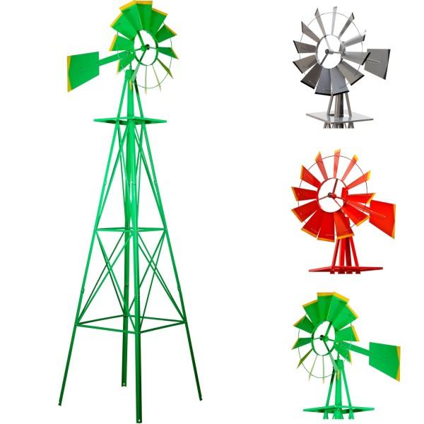 Gigantisches Windrad 245cm US-Style grün, Windmühle