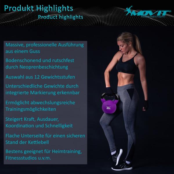 MOVIT® 24kg Kettlebell Kugelhantel gusseisen neopren schwarz