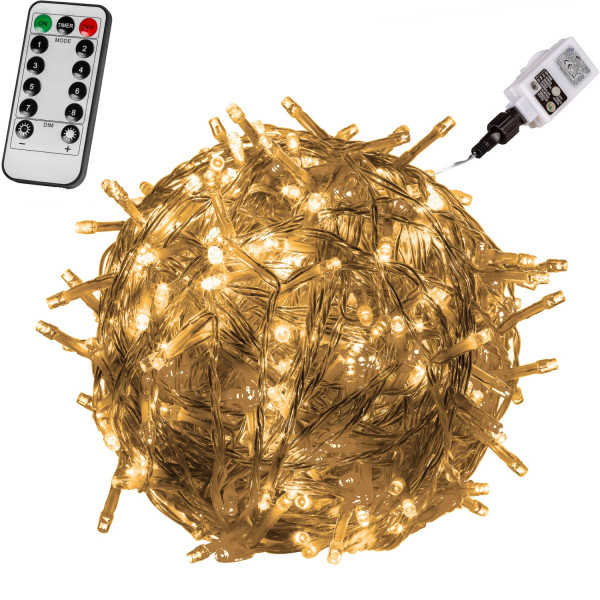 VOLTRONIC® 600 LED Lichterkette, warm-weiß, Kabel transp, FB
