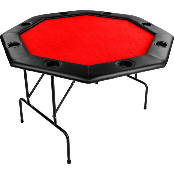 Pokertisch 122x122x76cm, Farbe rot