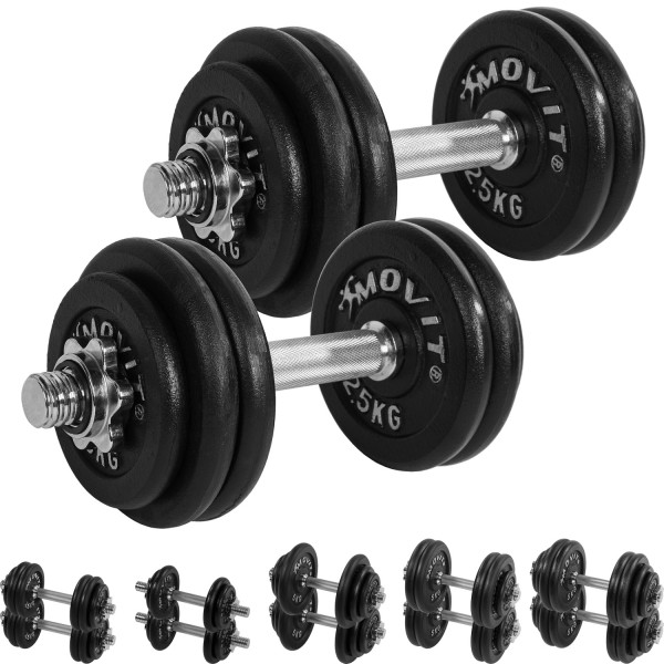 MOVIT® 2x 15 kg Hantelset, Gusseisen, 30 kg Kurzhanteln
