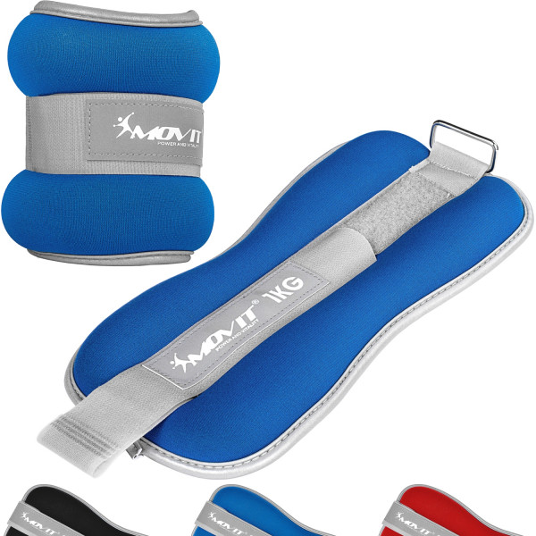 MOVIT® Neopren Gewichtsmanschetten 2x1 kg blau reflex F
