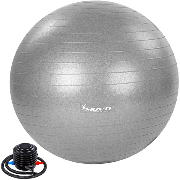 MOVIT® Gymnastikball mit Fußpumpe, 85 cm, silber