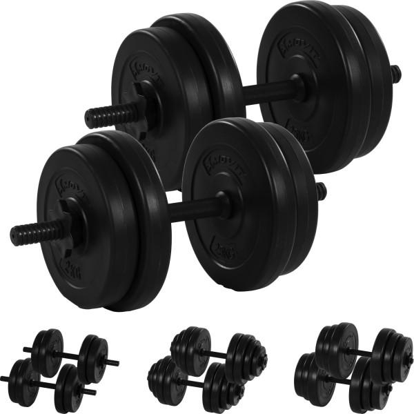 MOVIT® 2x 10 kg Hantelset, 20kg Hanteln, Kurzhanteln
