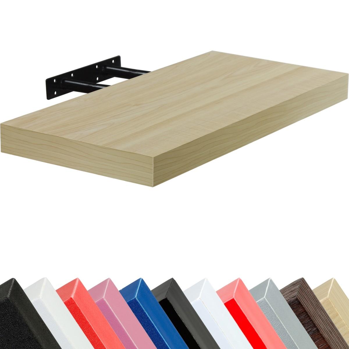 Wandregal Freischwebend (verdeckte Befestigung ohne sichtbare Winkel). MDF-Faserplatten nach E1 Standard geprüft. Farbwahl: 11 Farben. Schwarz, Weiß, Rot, Pink, Blau, Hochglanz-Schwarz, Hochglanz-Weiß, Hochglanz-Rot, Silber, Holzdekor-Hell, Holzdekor-Dunkel). Furnier: PVC. Maße (4 verschiedene Längen): 50(L)* 23,5 (B) 70(L)* 23,5 (B) 90(L)* 23,5 (B) 110(L)* 23,5 (B) Extra starke Regalböden: 3,8 cm Maximalbelastbarkeit: 15 kg Preis: 21.99 €