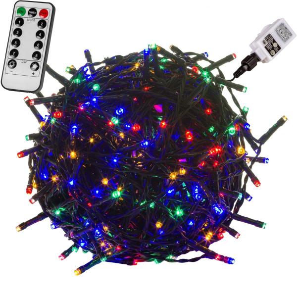 VOLTRONIC® 600 LED Lichterkette, bunt, Kabel grün, FB